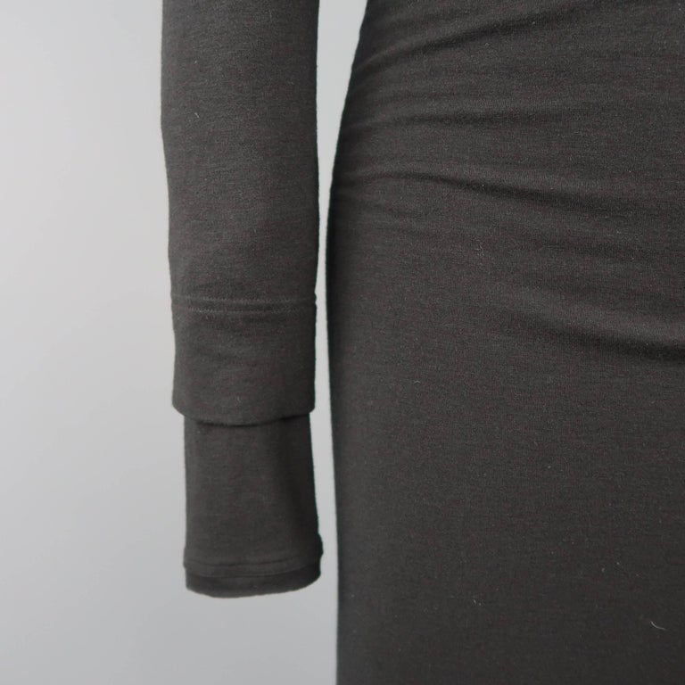 Women's DONNA KARAN Size M Black Layered Jersey Long Sleeve Maxi Sheath Dress For Sale