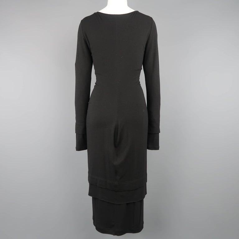 DONNA KARAN Size M Black Layered Jersey Long Sleeve Maxi Sheath Dress For Sale 1