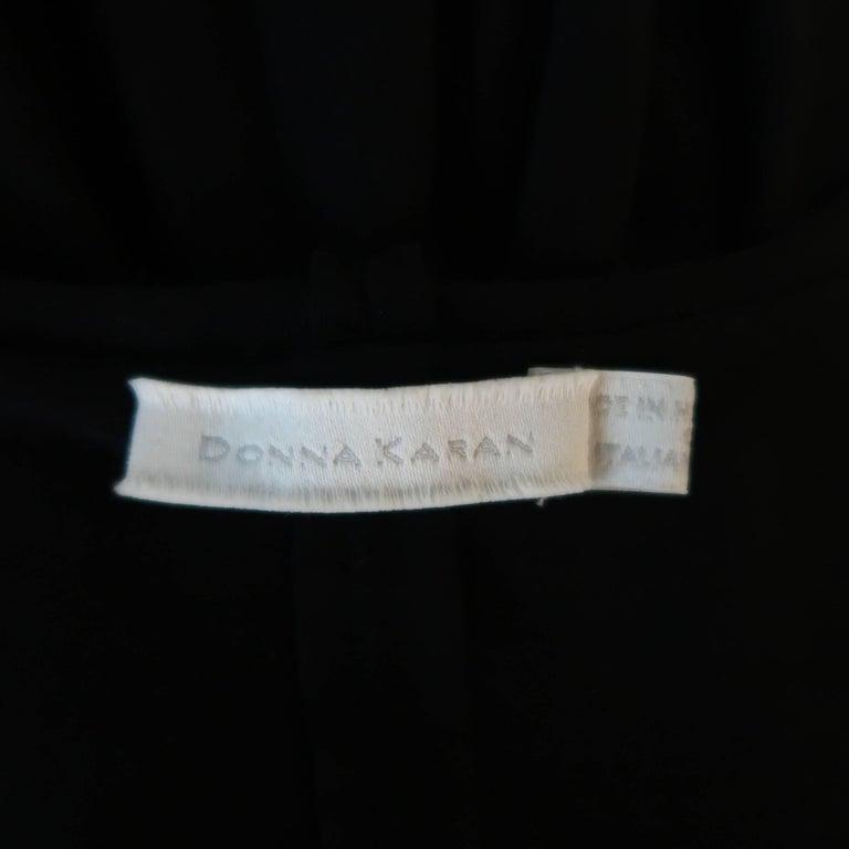 DONNA KARAN Size M Black Layered Jersey Long Sleeve Maxi Sheath Dress For Sale 2