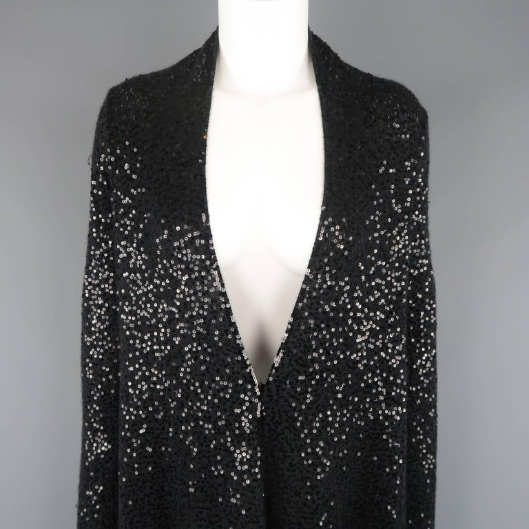 Donna Karan Black Sequined Cashmere / Silk Drape Cardigan In Good Condition For Sale In San Francisco, CA