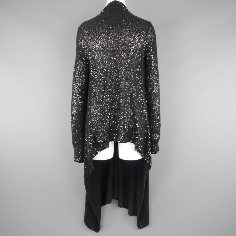 Donna Karan Black Sequined Cashmere / Silk Drape Cardigan For Sale 2