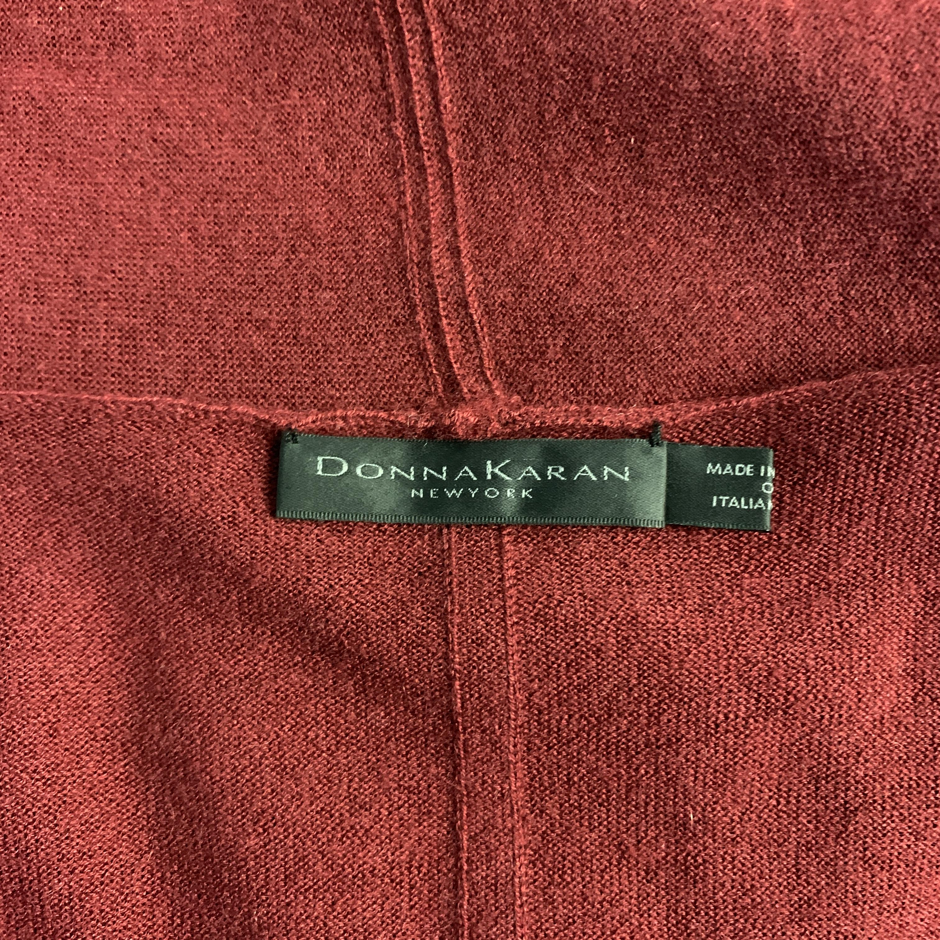 6b58ce97c1028c DONNA KARAN Size S Burgundy Cashmere Asymmetrical Cardigan Sweater For Sale  at 1stdibs