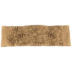DONNA KARAN Size S Woven Beige Beaded Flower Embroidered Elastic Waist Belt