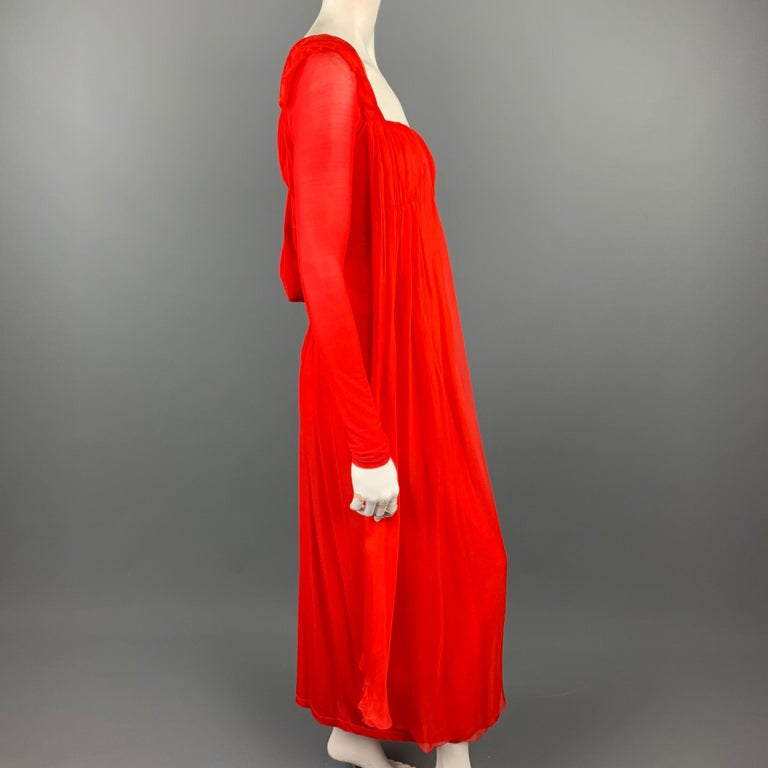 DONNA KARAN Size XS Red Cupro Blend Draped Evening Gown In Good Condition For Sale In San Francisco, CA