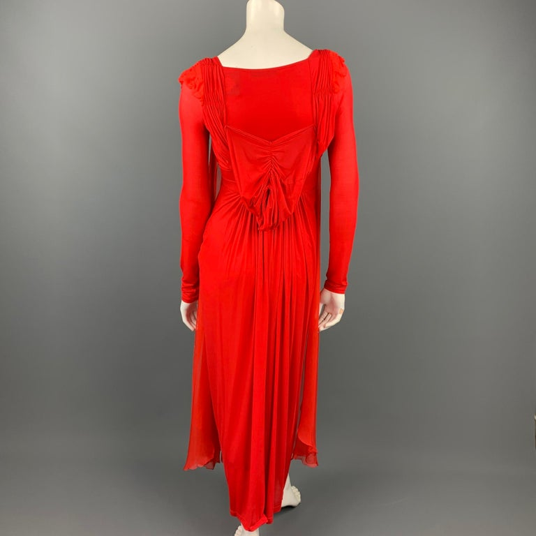 Women's DONNA KARAN Size XS Red Cupro Blend Draped Evening Gown For Sale