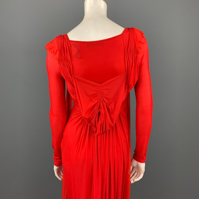 DONNA KARAN Size XS Red Cupro Blend Draped Evening Gown For Sale 1