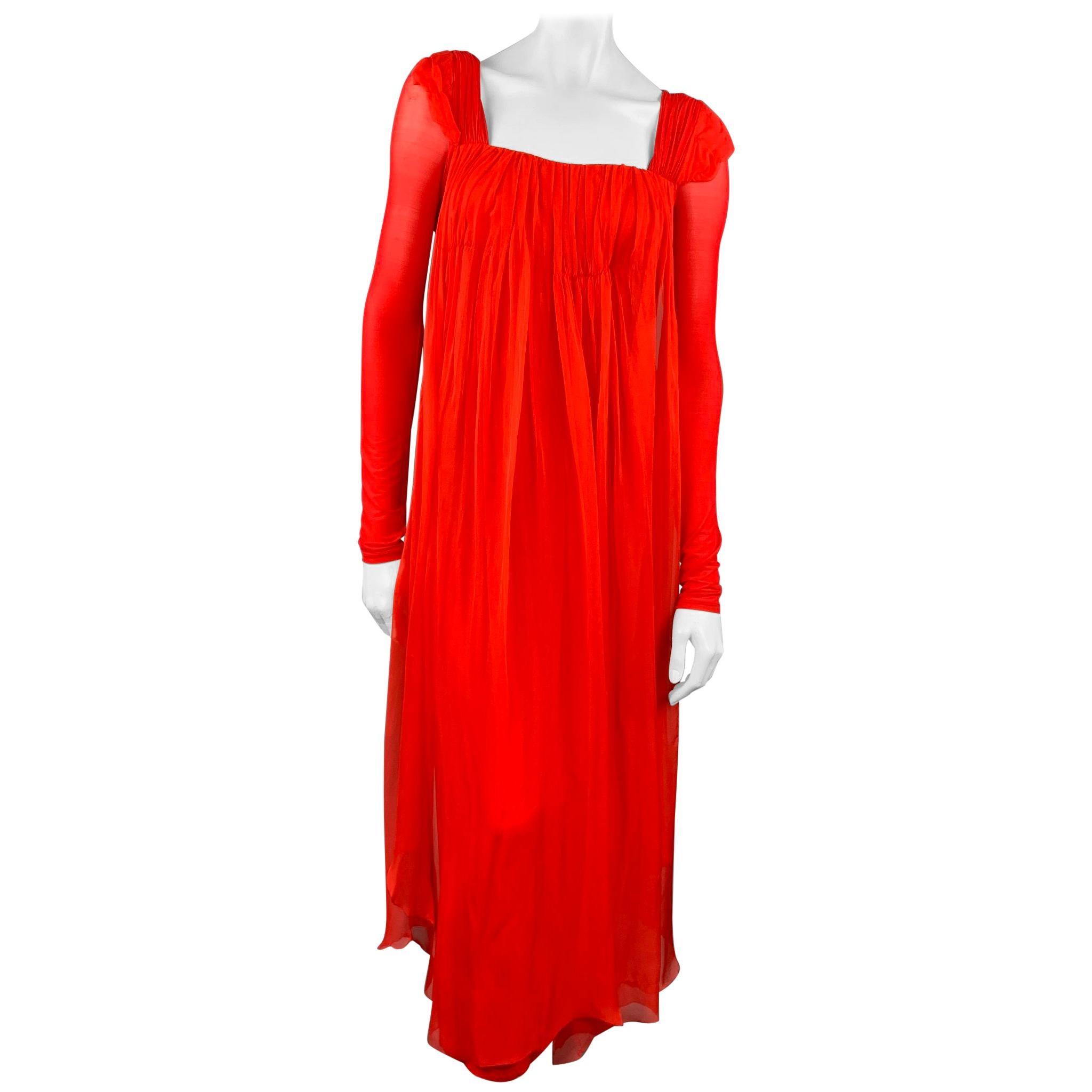 DONNA KARAN Size XS Red Cupro Blend Draped Evening Gown