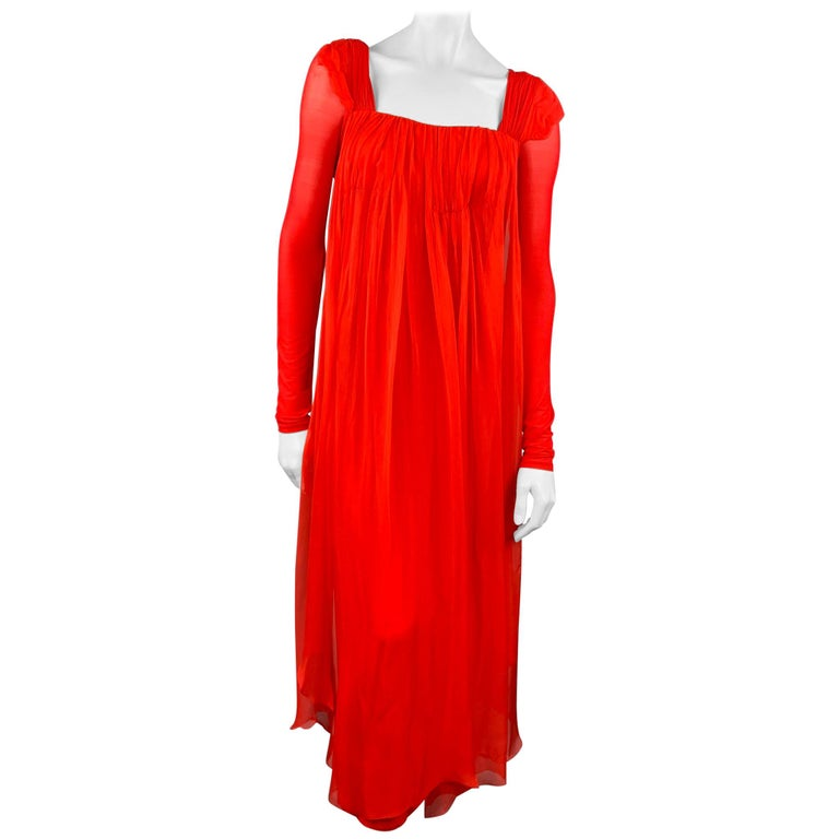 DONNA KARAN Size XS Red Cupro Blend Draped Evening Gown For Sale