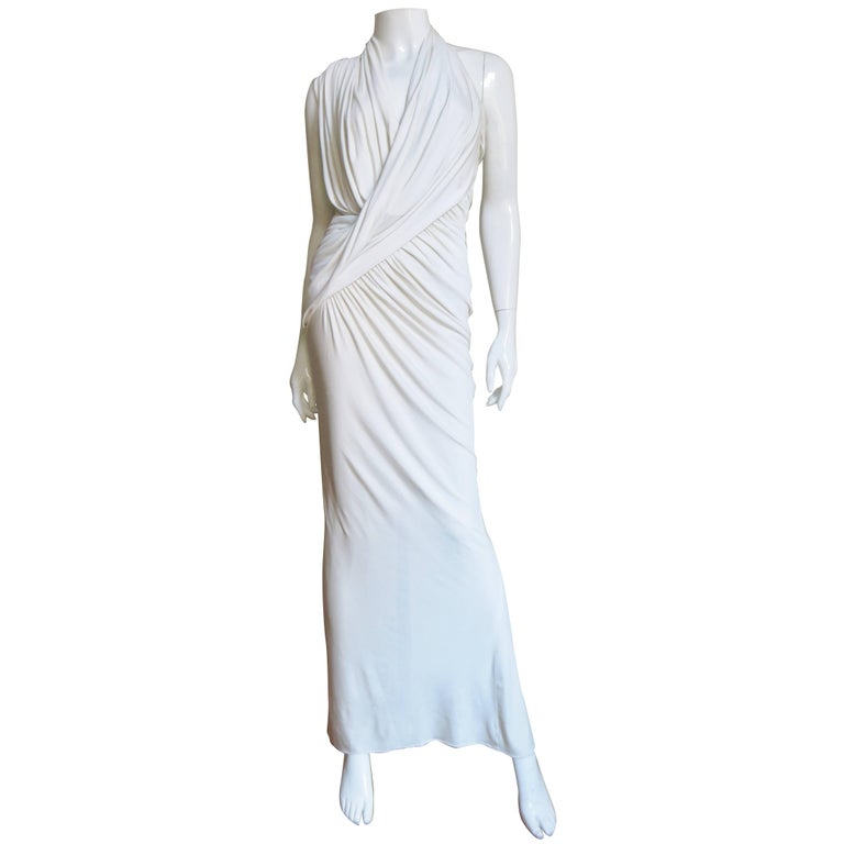 Donna Karan Stunning Ruched Draped Halter Dress