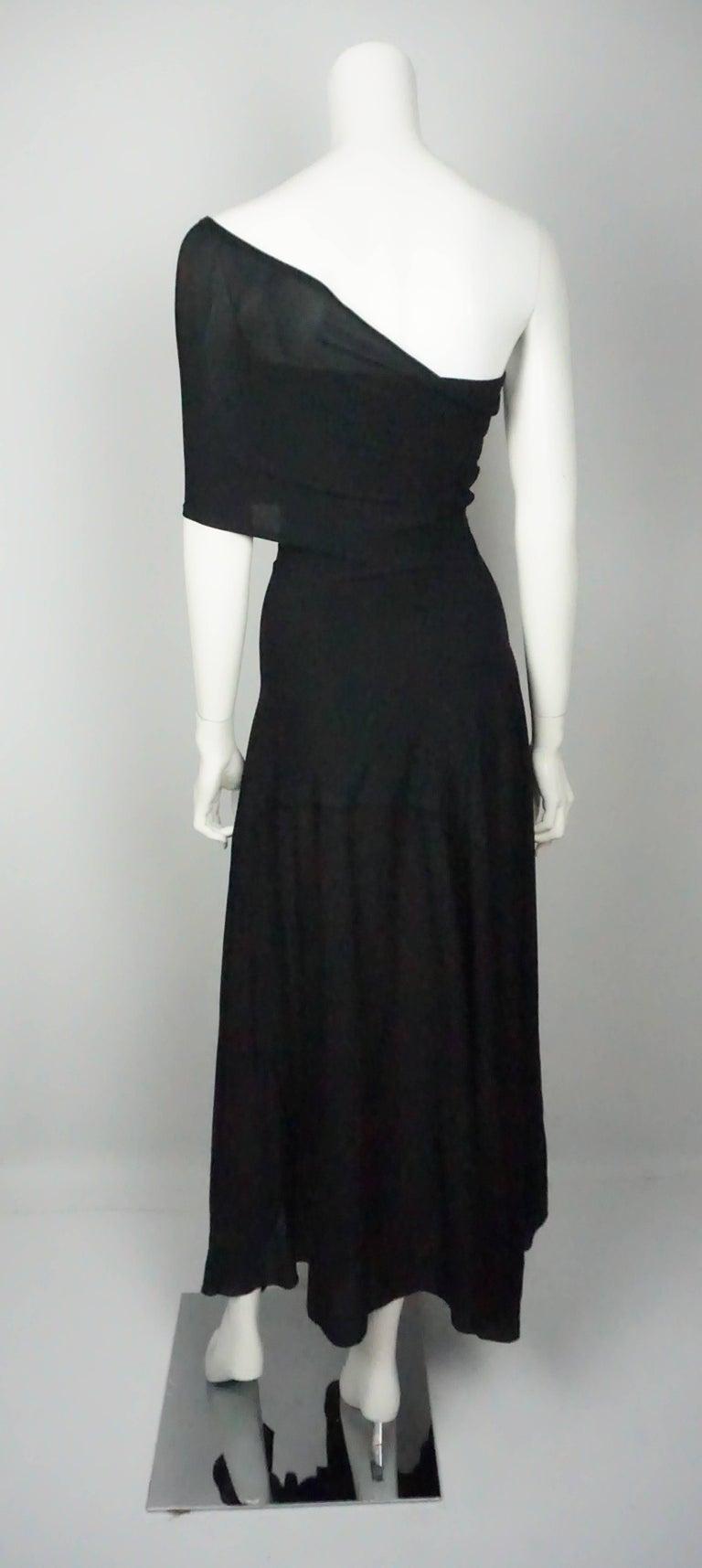 Donna Karan Vintage Black Jersey One Shoulder Dress  In Excellent Condition For Sale In Palm Beach, FL