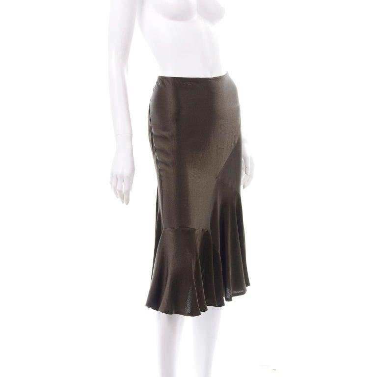 Black Donna Karan Vintage Silk Bias Cut Skirt in Brown Olive Green For Sale