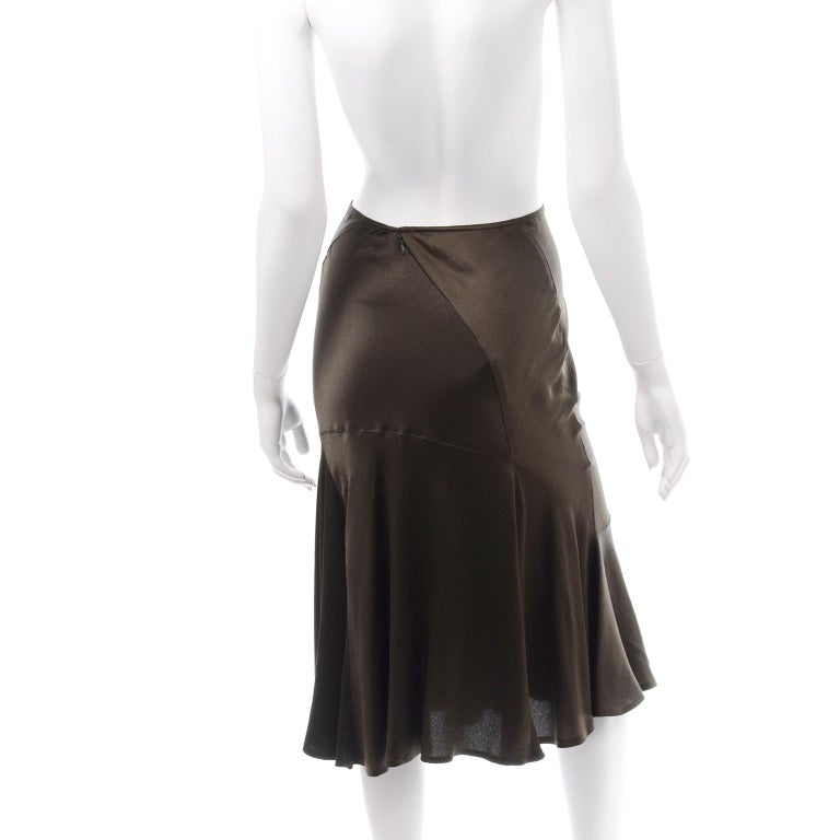 Donna Karan Vintage Silk Bias Cut Skirt in Brown Olive Green In Excellent Condition For Sale In Portland, OR