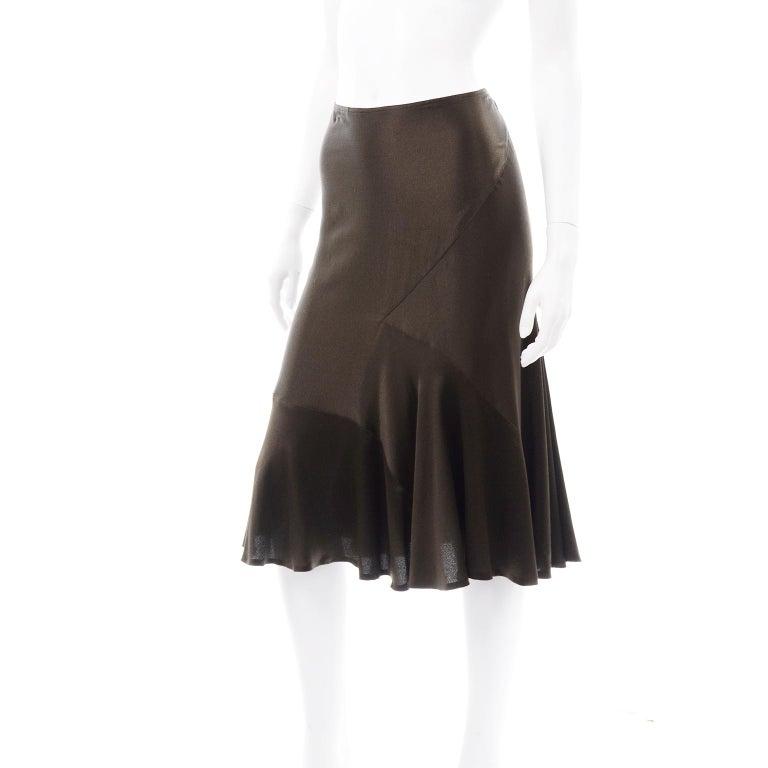 Women's Donna Karan Vintage Silk Bias Cut Skirt in Brown Olive Green For Sale