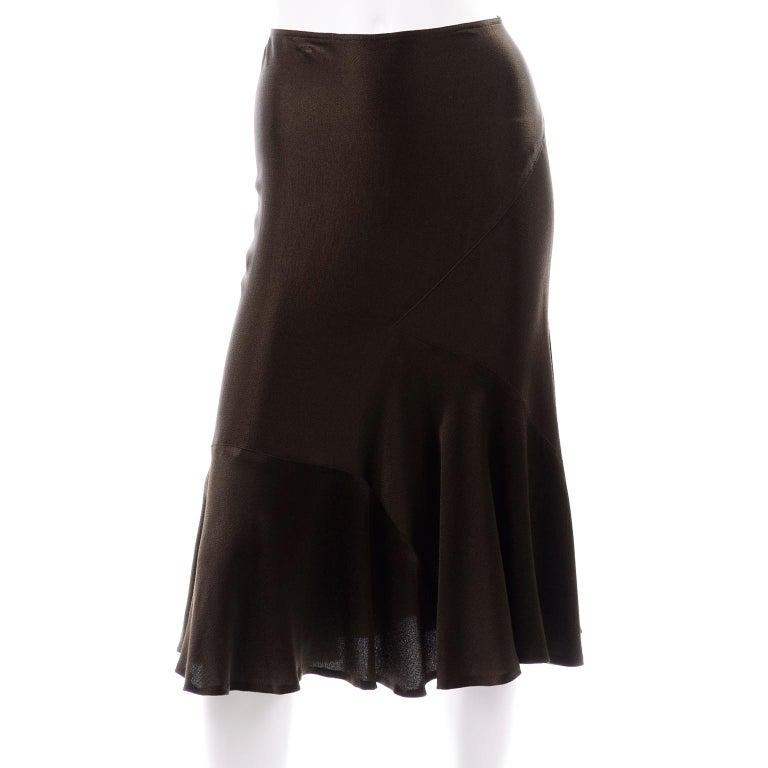 Donna Karan Vintage Silk Bias Cut Skirt in Brown Olive Green For Sale 1