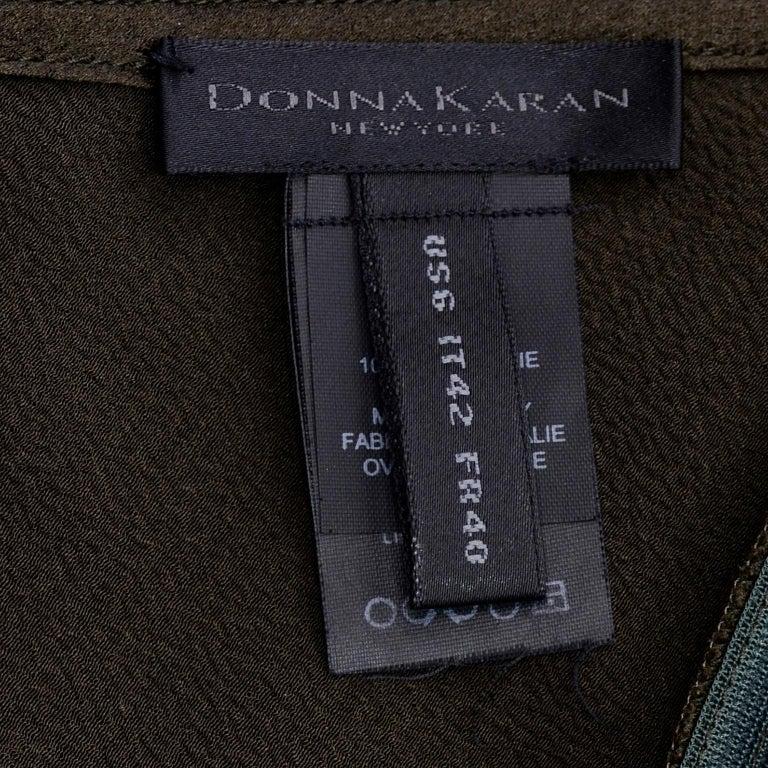 Donna Karan Vintage Silk Bias Cut Skirt in Brown Olive Green For Sale 3