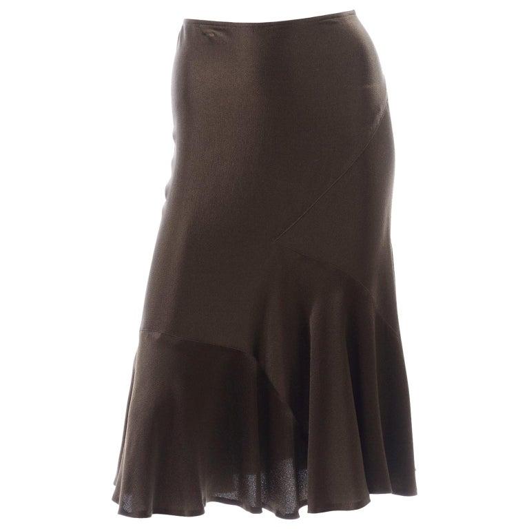 Donna Karan Vintage Silk Bias Cut Skirt in Brown Olive Green For Sale