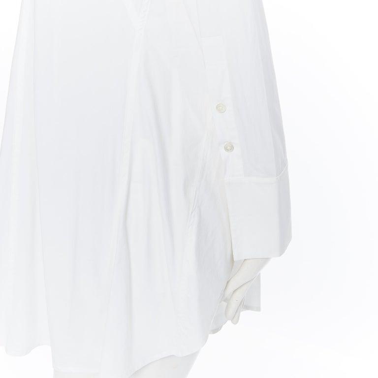 DONNA KARAN white cotton blend angular dart slit pocket mini shirt dress US2 For Sale 5