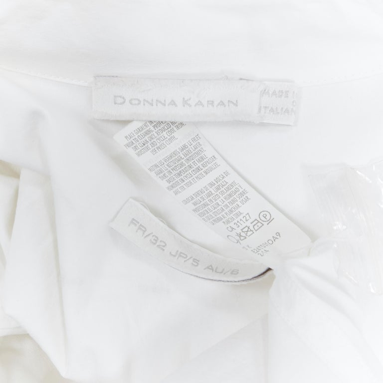 DONNA KARAN white cotton blend angular dart slit pocket mini shirt dress US2 For Sale 6