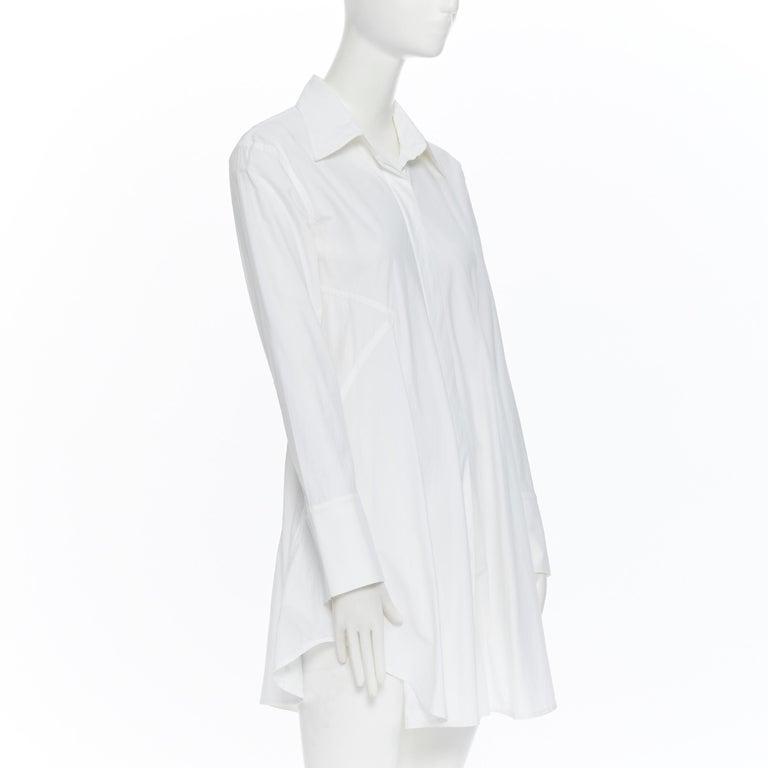 Gray DONNA KARAN white cotton blend angular dart slit pocket mini shirt dress US2 For Sale