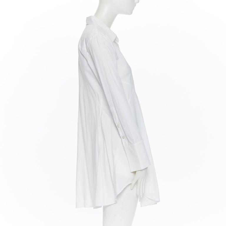 DONNA KARAN white cotton blend angular dart slit pocket mini shirt dress US2 In Good Condition For Sale In Hong Kong, NT