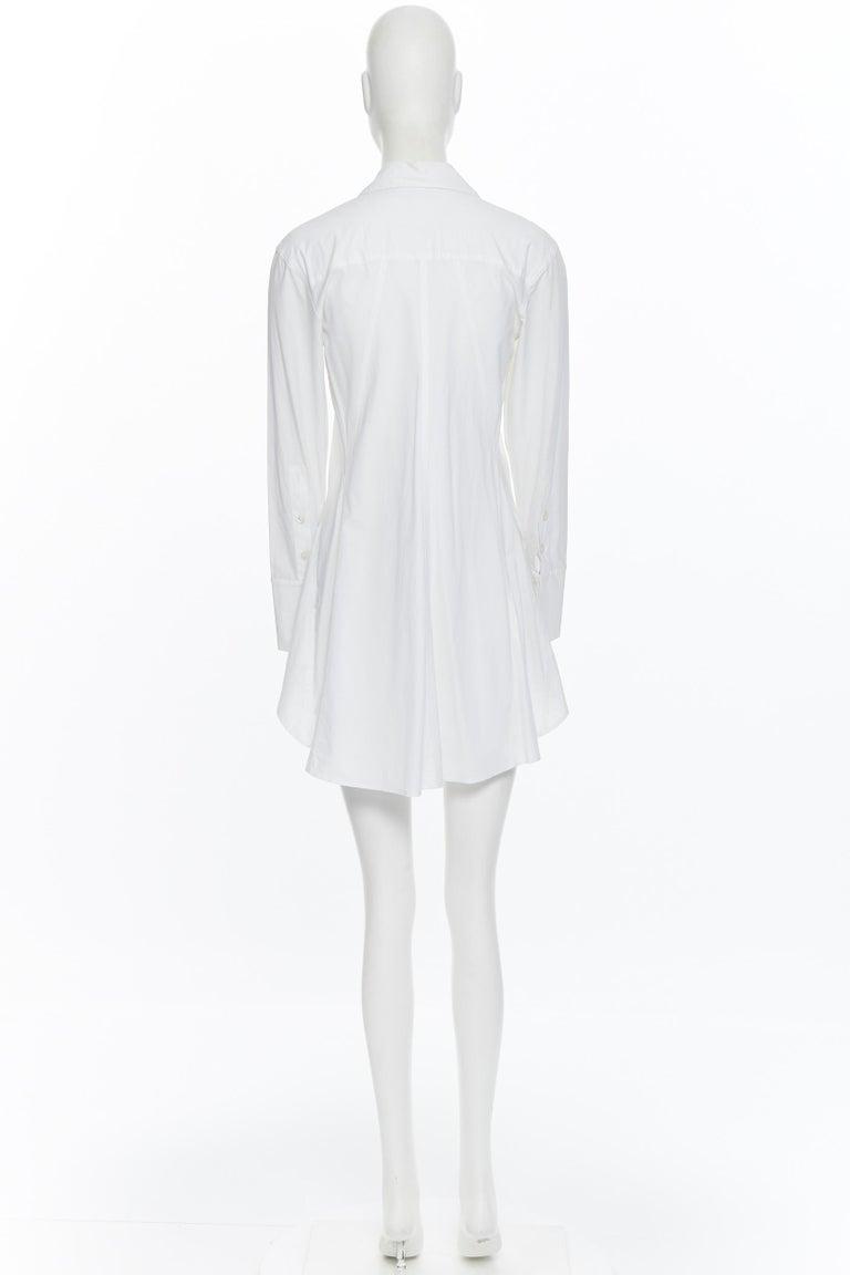 Women's DONNA KARAN white cotton blend angular dart slit pocket mini shirt dress US2 For Sale