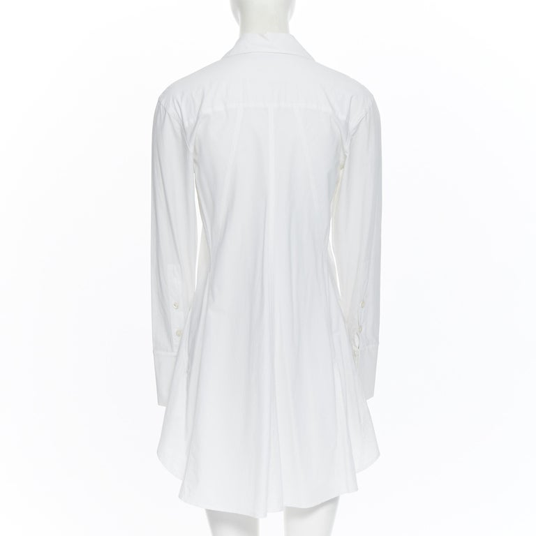 DONNA KARAN white cotton blend angular dart slit pocket mini shirt dress US2 For Sale 1