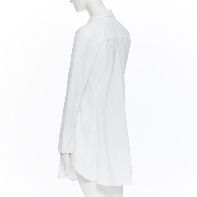DONNA KARAN white cotton blend angular dart slit pocket mini shirt dress US2 For Sale 2