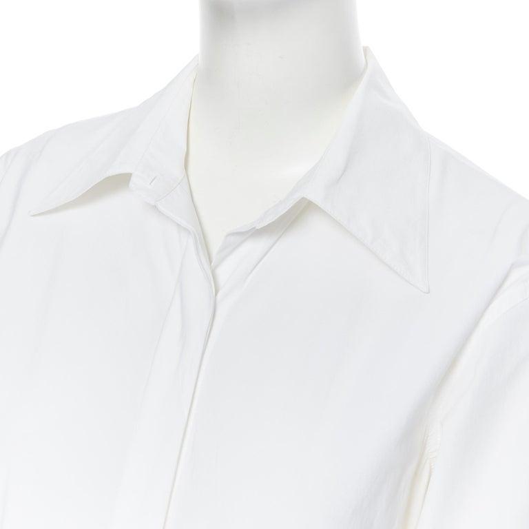 DONNA KARAN white cotton blend angular dart slit pocket mini shirt dress US2 For Sale 3