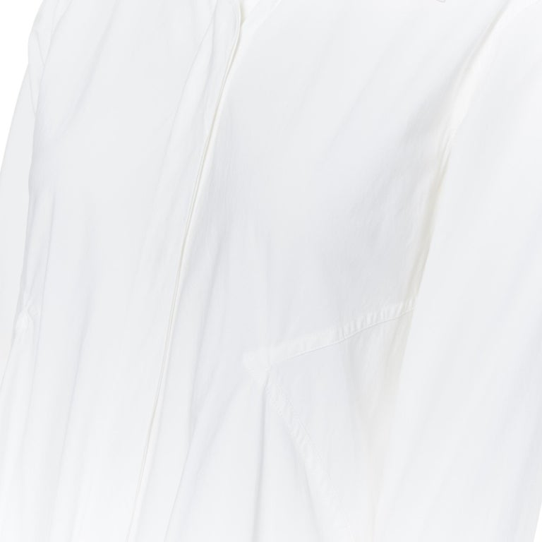 DONNA KARAN white cotton blend angular dart slit pocket mini shirt dress US2 For Sale 4