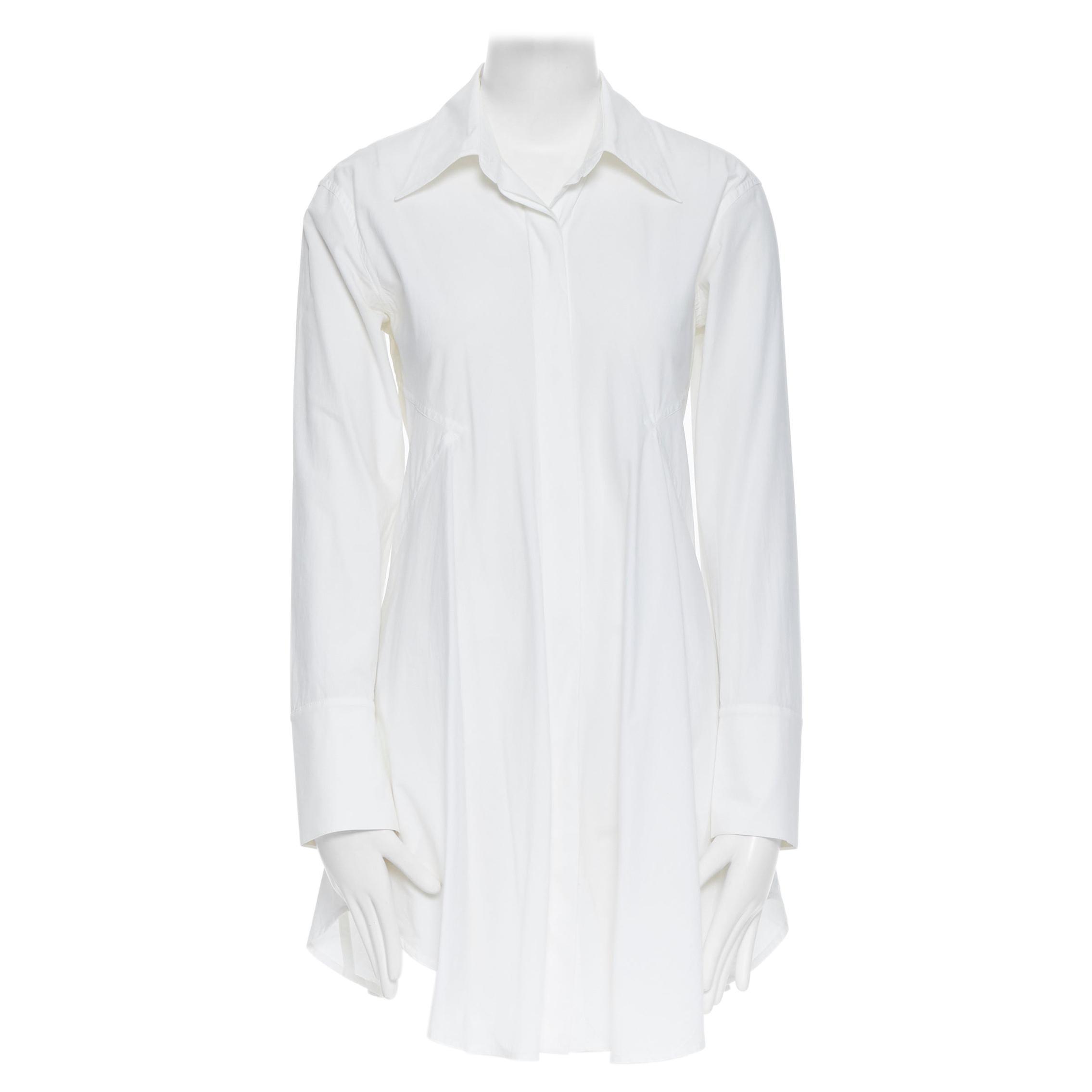 DONNA KARAN white cotton blend angular dart slit pocket mini shirt dress US2