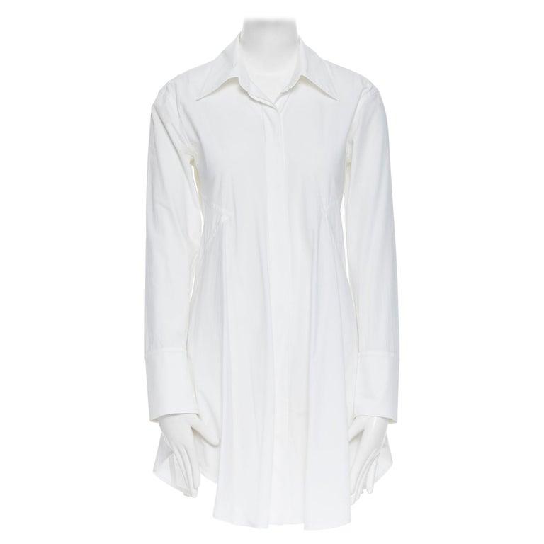 DONNA KARAN white cotton blend angular dart slit pocket mini shirt dress US2 For Sale