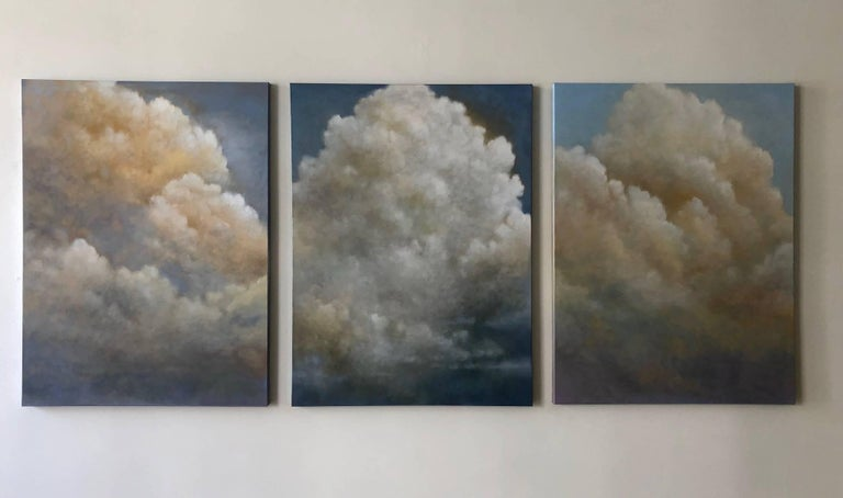 Calming billowing etherial clouds create this triptych (three paintings) that hang side by side. The overall width is determined by the spacing between each oil canvas.   Donna McGinnis is known for her imagined land and skyscapes that bridge