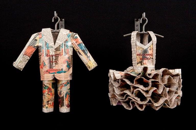 Donna Rosenthal Figurative Sculpture -  Sculpture, Paper,  Super Man, Wonder Woman, wall-hung couple, vintage comics