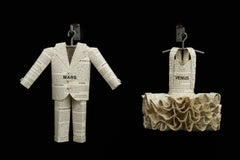 Sculpture, paper, Romance Novels couple suit and dress, on wall Mars vs, Venus