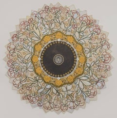 Love and Affection, Mixed Media Textile Mandala in Yellow and Green, Coral Roses