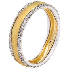 Donna Vock 18 Karat Gold and Silver Wave Bangle Bracelet with Diamonds