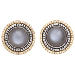 Donna Vock 18 Karat Gold Moonstone and Diamond Clip-On Earrings