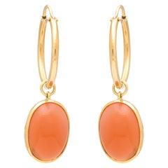 Donna Vock 18 Karat Gold Moonstone Pendant Hoop Earrings