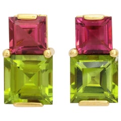 Donna Vock 18 Karat Gold Pink Tourmaline and Peridot Stud Earrings