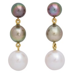 Donna Vock 18 Karat Gold Tahitian Cultured Pearl Earrings