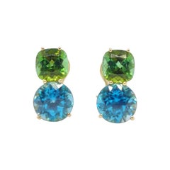 Donna Vock 18 Karat Gold Tourmaline and Blue Zircon Clip-On Double Stud Earrings