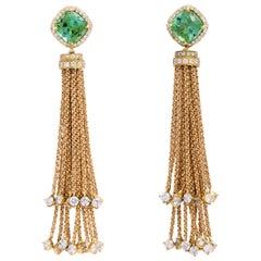 Donna Vock 18 Karat Gold Tourmaline and Diamond Tassel Earrings