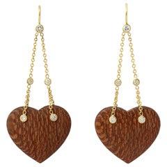 Donna Vock 18 Karat Gold Wood and Diamond Heart Earrings