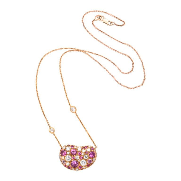 Donna Vock 18K Rose Gold Artist's Palette Necklace in Pink Sapphire and Diamond  For Sale