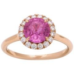 Donna Vock 18 Karat Rose Gold Pink Sapphire Ring with Diamonds