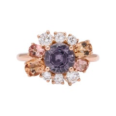 Donna Vock 18 Karat Rose Gold Spinel, Precious Topaz and Diamond Ring