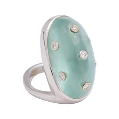 Donna Vock 18 Karat White Gold Ring with Cabochon Aquamarine and Diamonds