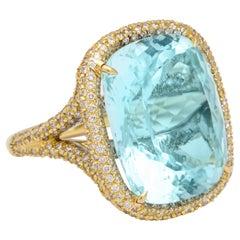 Donna Vock 18 Karat Yellow Gold Aquamarine and Diamond Cocktail Ring