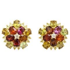 Donna Vock 18 Karat Yellow Gold Garnet, Chrysoberyl and Diamond Ear Clips