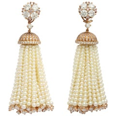 Donna Vock 18k Gold Pink and White Diamond Natural Pearl Tassel Clip-On Earrings